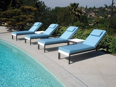 Etra Reclining Chaise Lounge with Table by Modern Outdoor