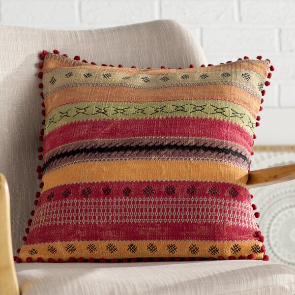 Cammi Striped Square Cotton Throw Pillow by Mistana