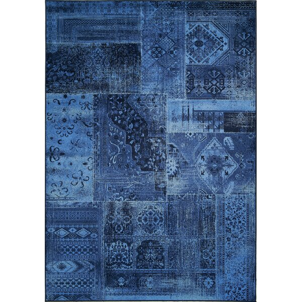 Lunceford Navy Brilliant Patchwork Area Rug by Red Barrel Studio