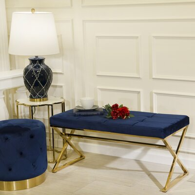 Tinley Metal Bench Color: Gold/Navy