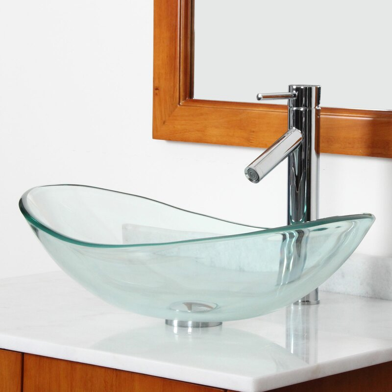 Elite tempered glass oval vessel bathroom sink reviews for Are vessel sinks out of style