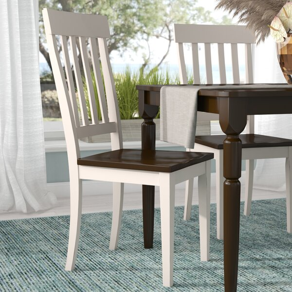 Tamiami Slatback Solid Wood Dining Chair (Set of 2) by Beachcrest Home