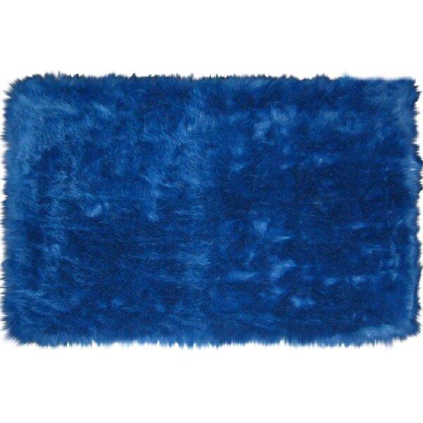 Flokati Dark Blue Area Rug by L.A. Rugs
