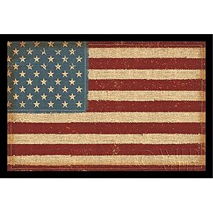 'USA Strong American Flag- Primative Stars & Stripes' Framed Graphic Art by August Grove