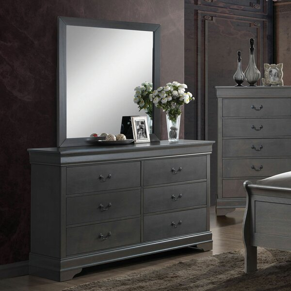 Glyndon 6 Drawer Double Dresser with Mirror by Darby Home Co