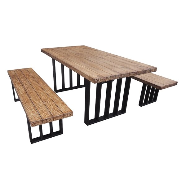 3 Piece Picnic Table Set by Union Rustic