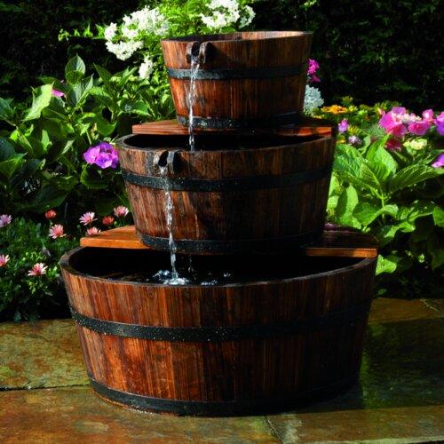 Nexos Gartenbrunnen Springbrunnen Holzbrunnen Holz Garten Brunnen Fass m Pumpe Ø 44cm GH35060