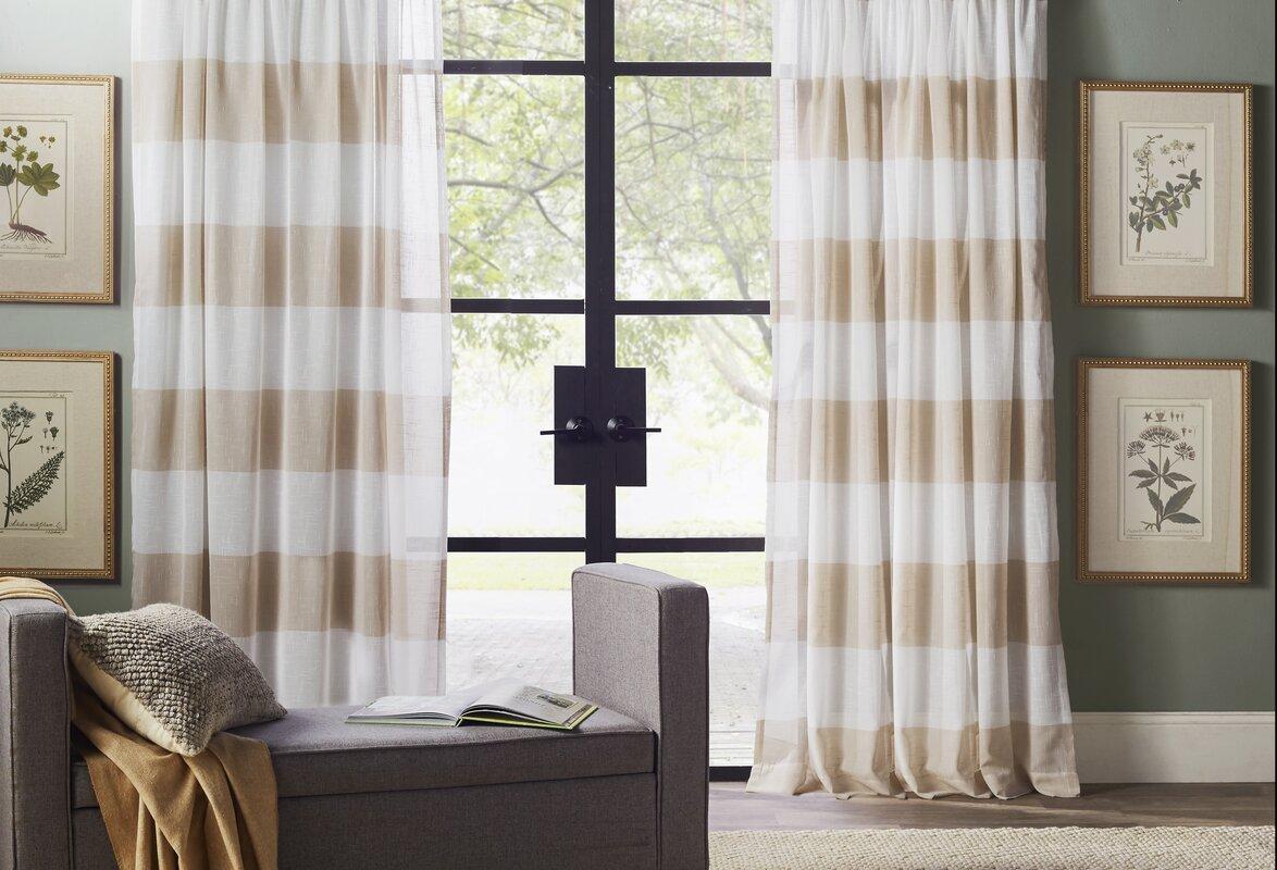 Beachcrest Home Plant City Striped Sheer Rod Pocket Curtain Panels ...