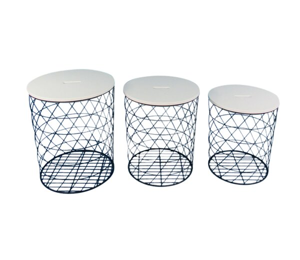 Jules 3 Piece Metal Covered Accent Stool Set by Latitude Run