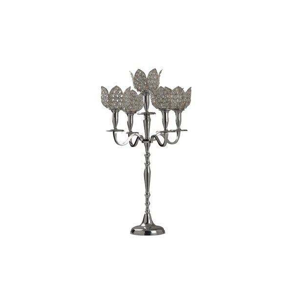 Glass 5 Tulip Crystal Candelabra by House of Hampton