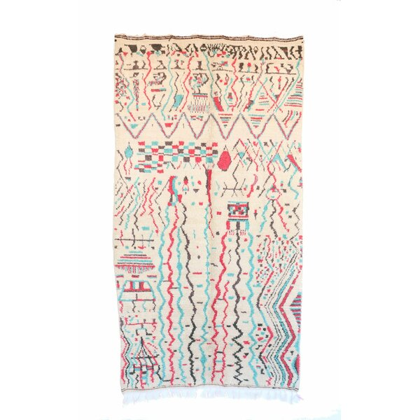 Azilal Vintage Moroccan Hand Knotted Wool Cream/Pink/Teal Area Rug by Indigo&Lavender
