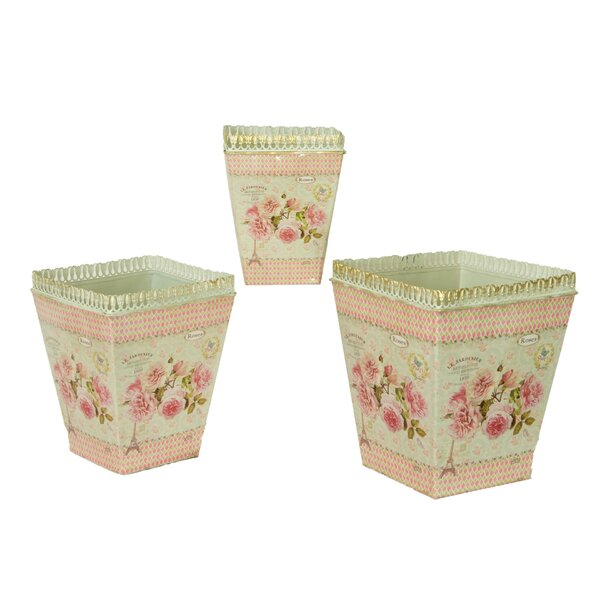 French Country Planters Vintage 3-Piece Metal Pot Planter Set by Dolce Mela