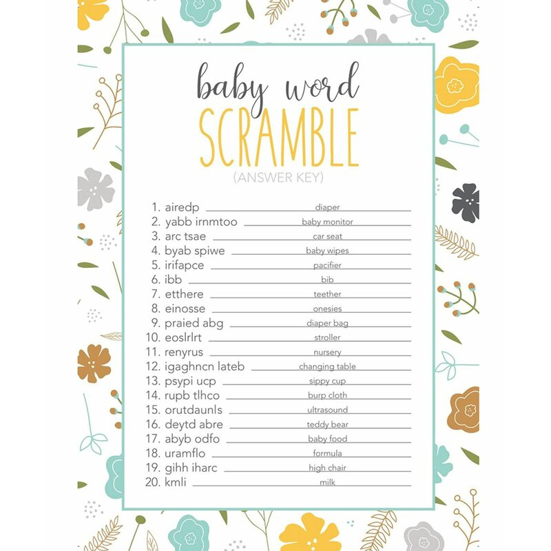 Juvale Paper Disposable Baby Shower Games | Wayfair