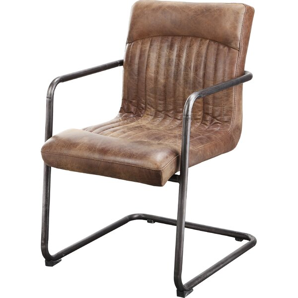 Belmiro Genuine Leather Upholstered Dining Chair (Set of 2) by 17 Stories