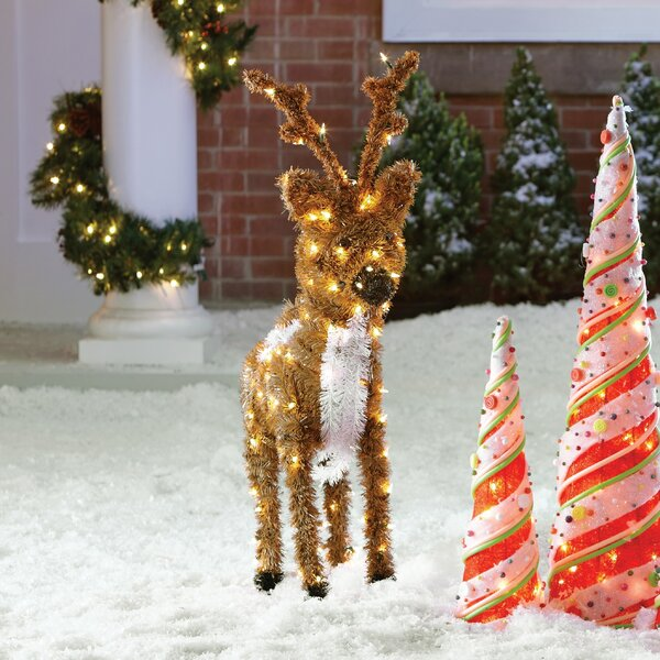 Standing Reindeer Christmas Decoration with 150 Clear Lights by The Holiday Aisle
