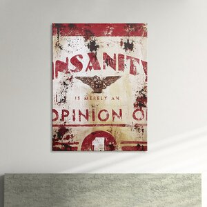 'Insanity' Graphic Art Print on Wood by Williston Forge