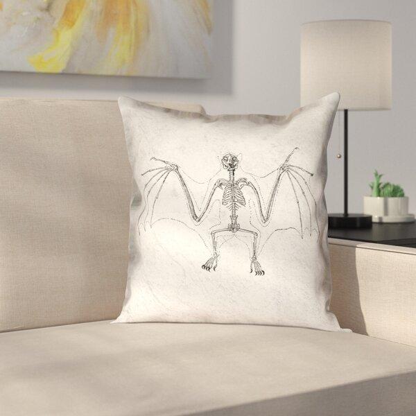 Vintage Bat Skeleton Outdoor Throw Pillow