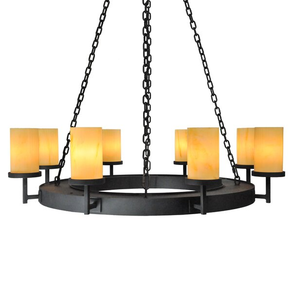 Adcock 8-Light Shaded Wagon Wheel Chandelier By Millwood Pines