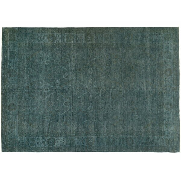 One-of-a-Kind Hand-Knotted Teal 10'2 x 14'3 Wool Area Rug