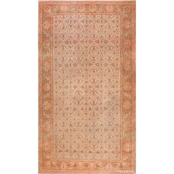 One-of-a-Kind Hand-Knotted 1900s Amritsar Beige 12'10 x 22'6 Wool Area Rug