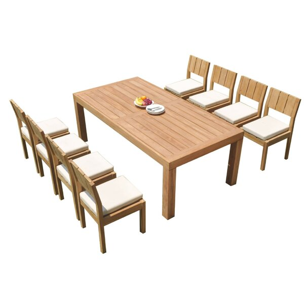Luciano 9 Piece Teak Dining Set by Rosecliff Heights
