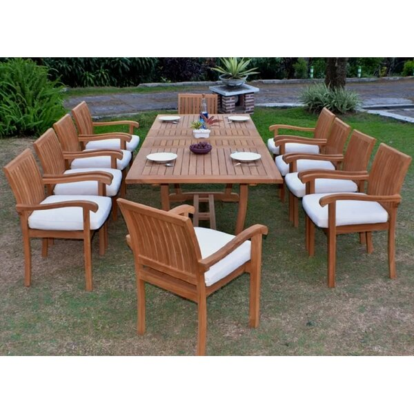 Cremont Luxurious 11 Piece Teak Dining Set by Rosecliff Heights
