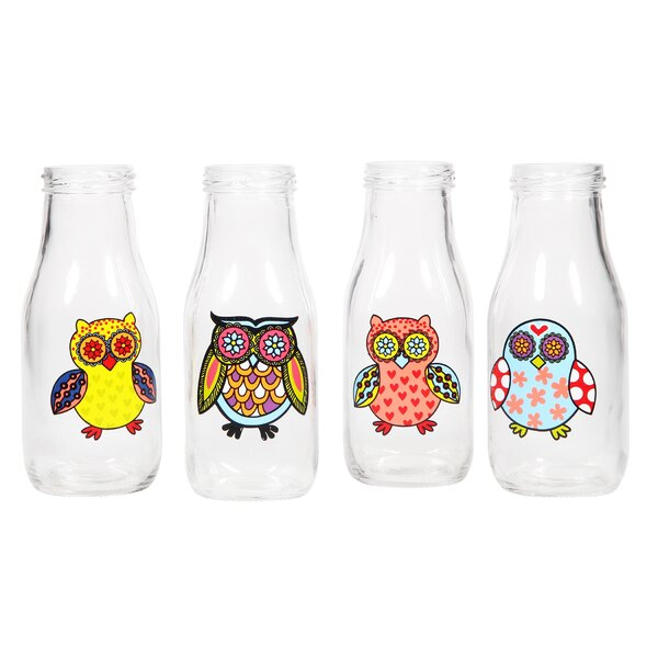 Frampton 4 Piece Wanderlust Owl 12 oz. Milk Bottle Set by August Grove