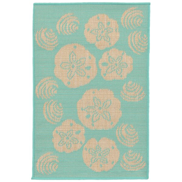 Clatterbuck Shell Toss Blue/Beige Indoor/Outdoor Area Rug by Highland Dunes