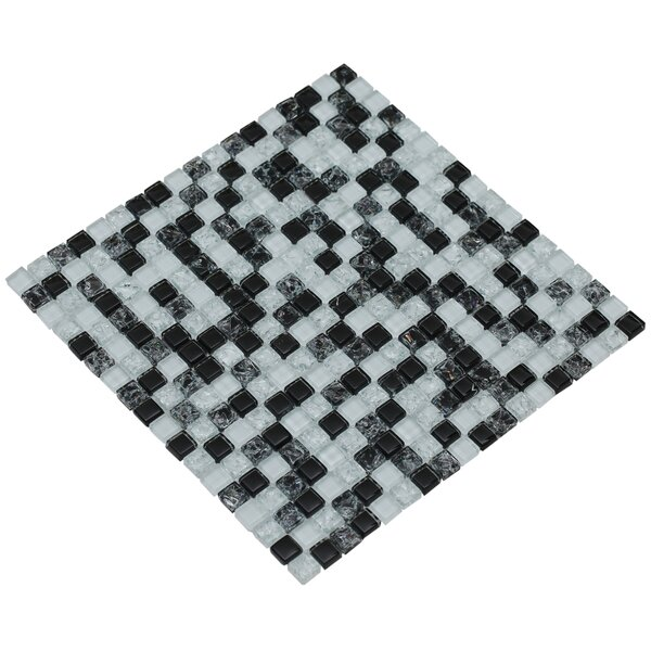 Mesh Pess 12 x 12 Glass/Stone Mosaic Tile in Black/White by Mirrella