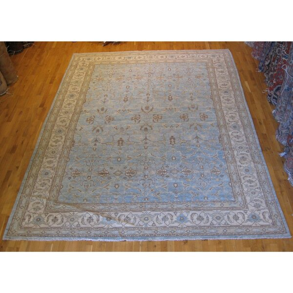 One-of-a-Kind Pakistani Hand-Knotted Blue 9' x 12' Wool Area Rug