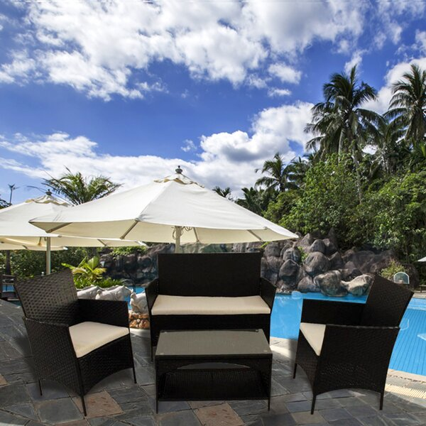 Aticus Outdoor 4 Piece Rattan Sofa Seating Group Set with Cushions by Bay Isle Home