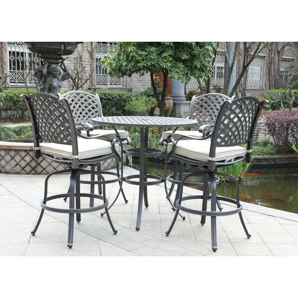 Waddington 5 Piece Bar Height Dining Set with Sunbrella Cushions by Fleur De Lis Living