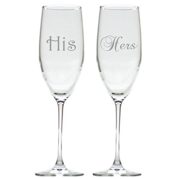 2 Piece His and Hers 8 oz. Champagne Flute Set by Carved Solutions