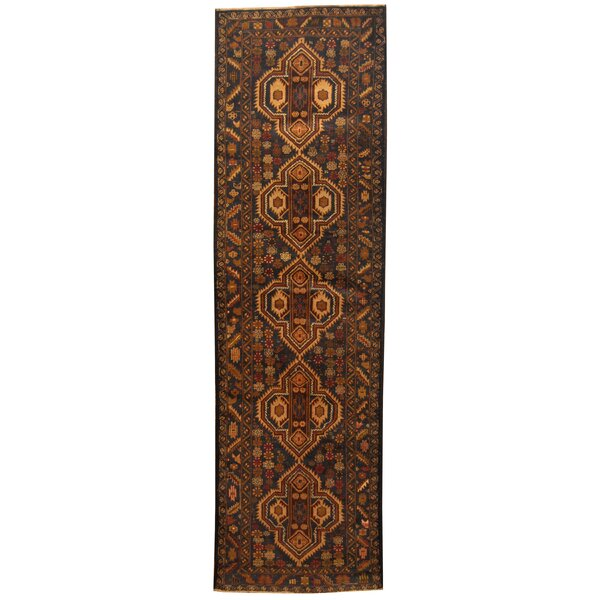 Prentice Tribal Balouchi Hand-Knotted Semi-Antique Navy/Ivory Area Rug by Isabelline