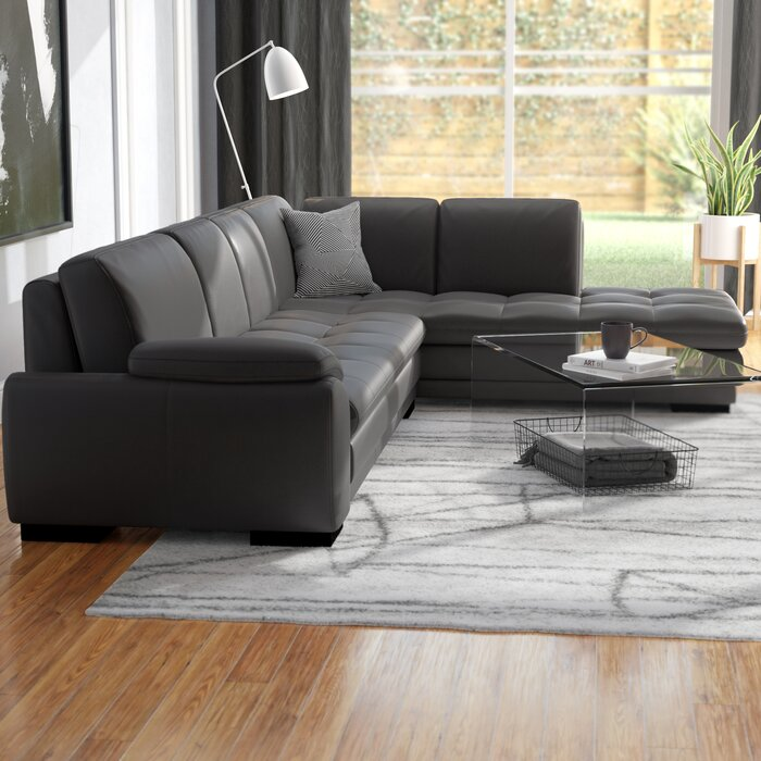 Excellent Jerald Leather Sectional Gmtry Best Dining Table And Chair Ideas Images Gmtryco