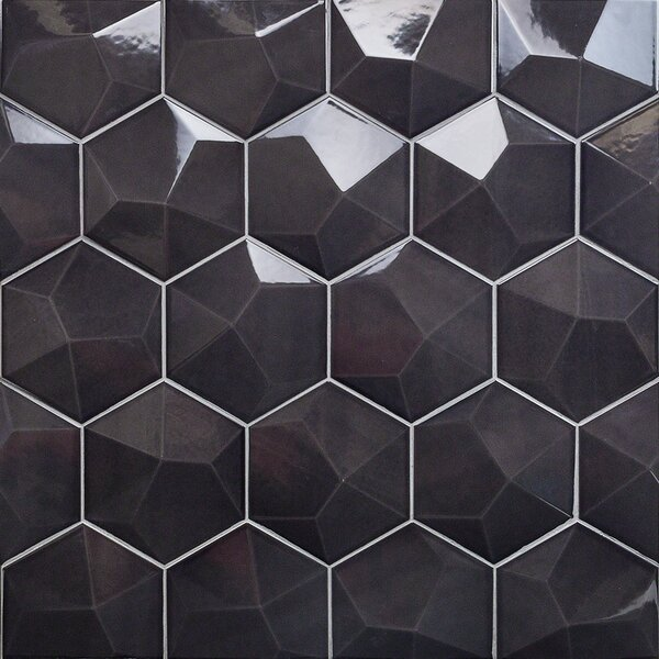Bethlehem Hexagon 6 x 7 Ceramic Field Tile in Grafito Brillo by Splashback Tile