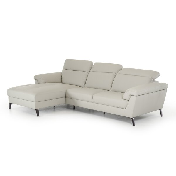Alsatia Leather 106'' Left Hand Facing Sectional By Wade Logan