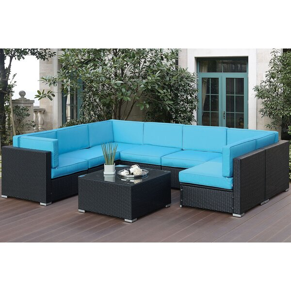 Galey 8 Piece Sectional Seating Group with Cushions by Highland Dunes