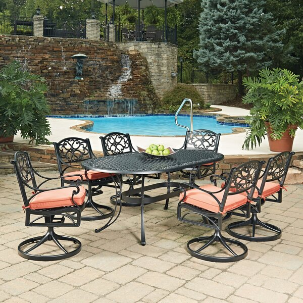 Biscayne Oval 7 Piece Dining Set with Cushion by Home Styles