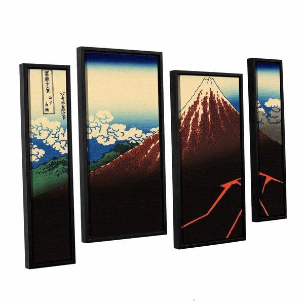 Shower Below the Summit (Sanka Hakuu) by Katsushika Hokusai 4 Piece Framed Painting Print Set by ArtWall