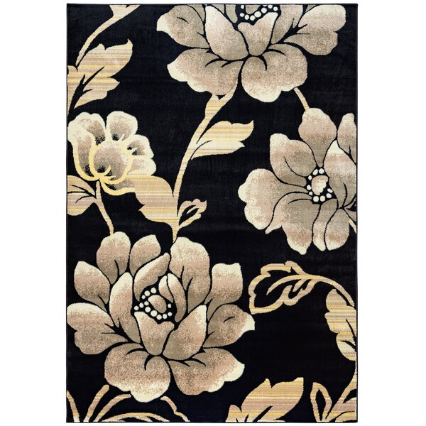 Culver Floral Geometric Black Area Rug by Threadbind