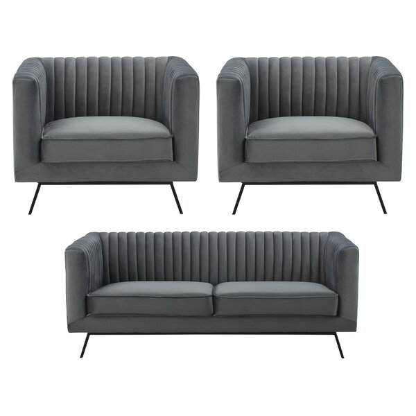 Yorkshire 3 Piece Living Room Set by Everly Quinn