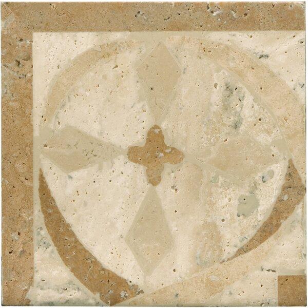 Natural Stone 4 x 4 Travertine Menaggio Waterjet Listello Tile in Brown/Beige by Emser Tile