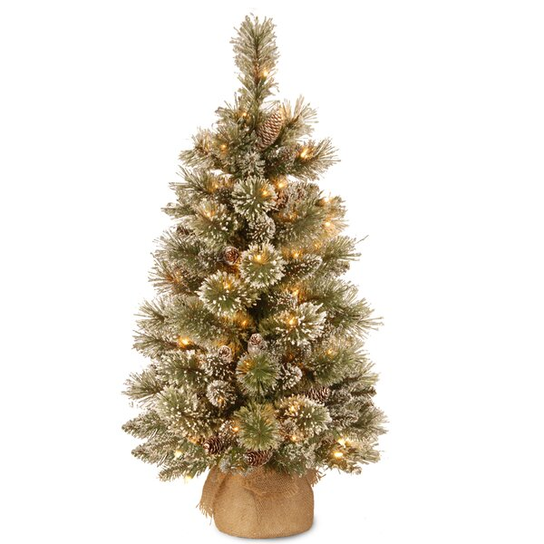laurel foundry modern farmhouse 3 green pine artificial christmas tree with 35 warm white led lights reviews wayfair