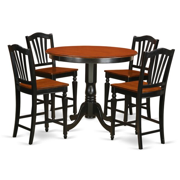 Trenton 5 Piece Counter Height Solid Wood Pub Table Set by East West Furniture