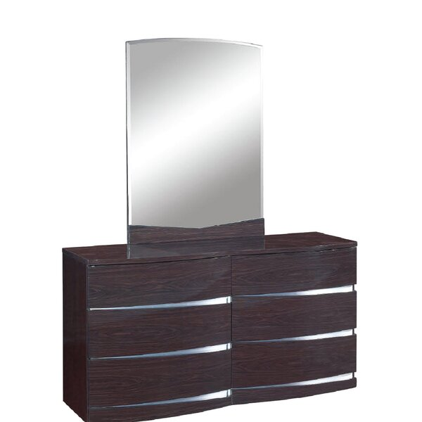 Emely 6 Drawer Double Dresser with Mirror by Orren Ellis