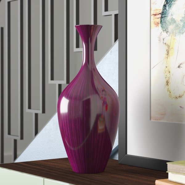 Purple Wood Lacquered Tall Vase by Brayden Studio