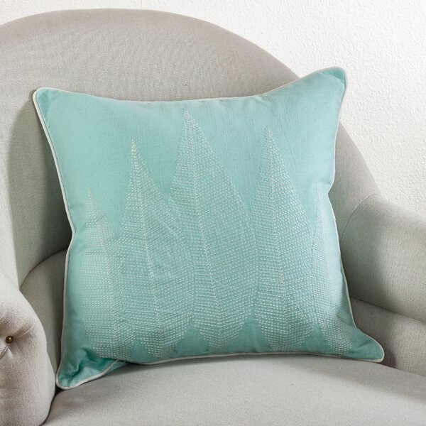 Stitched Leaf Cotton Throw Pillow by Saro