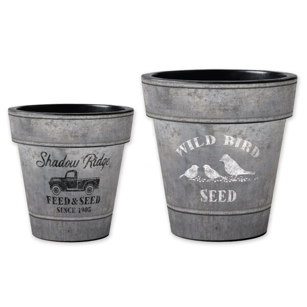 Wild Bird Seed 2-Piece Pot Planter Set by Studio M