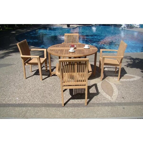 Rotteck Luxurious 5 Piece Teak Dining Set by Rosecliff Heights